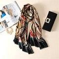 2016 de la moda Bufanda de seda de las mujeres populares de impresión cartas Bufanda marca de lujo caliente elegante chal bandana foulard pashmina suave del cabo