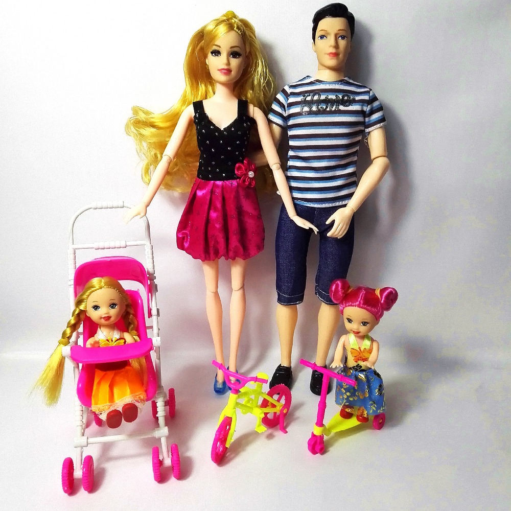 Girls Doll Family 4 People Dolls Kostymer 1Mom / 1Dad / 2 Little Kelly Girl / 3 Bil till barbie Girl Fashion Doll DIY Bästa Vän Gift Toy