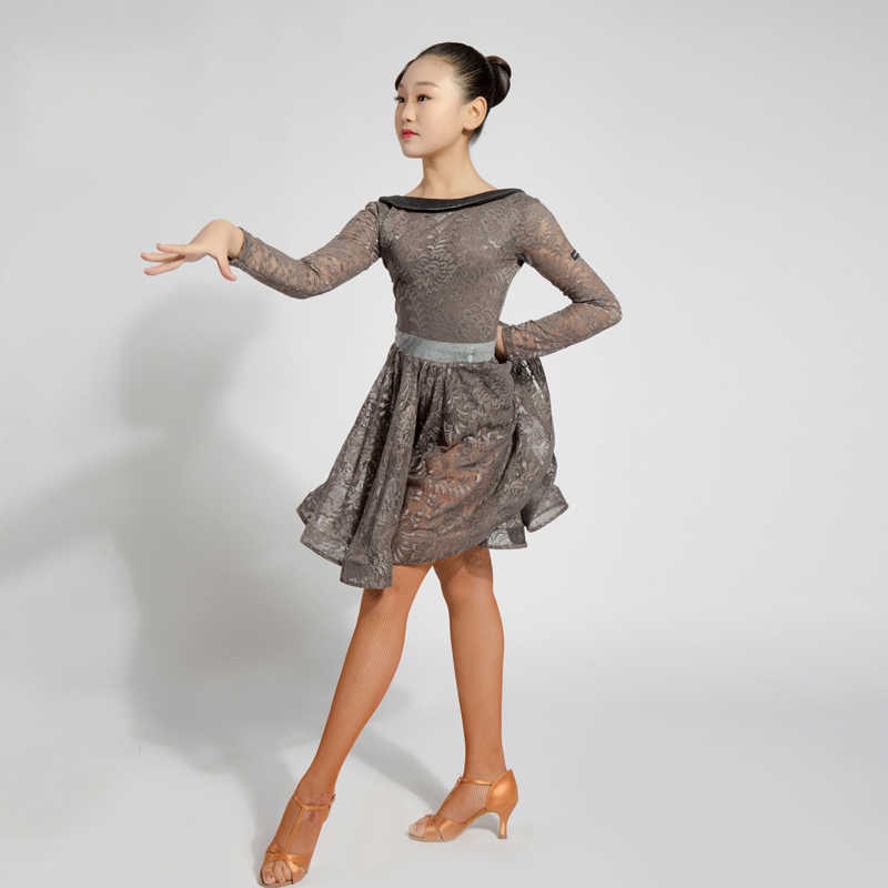 1298cb41d ... Latin Dance Dress For Girls Long Sleeve Lace Standard Ballroom Dancing  Dresses For Kids Performance Wear ...