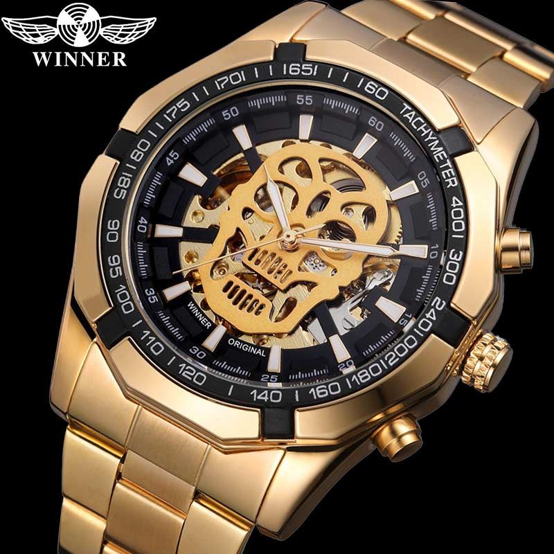 Sport Automatic Mechanical Man Wristwatch Skeleton Skull Male Clock  0651