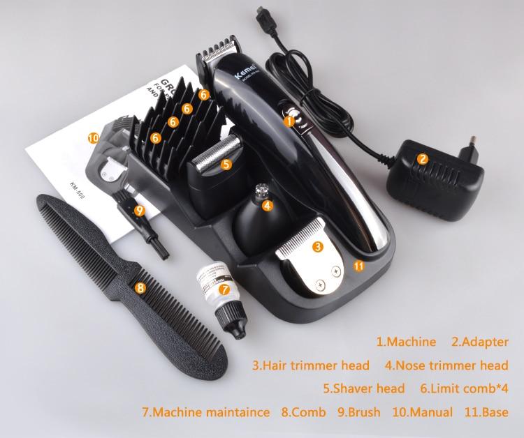 Kemei KM-500 8 in 1 Hair Clipper Electric Trimmer 11
