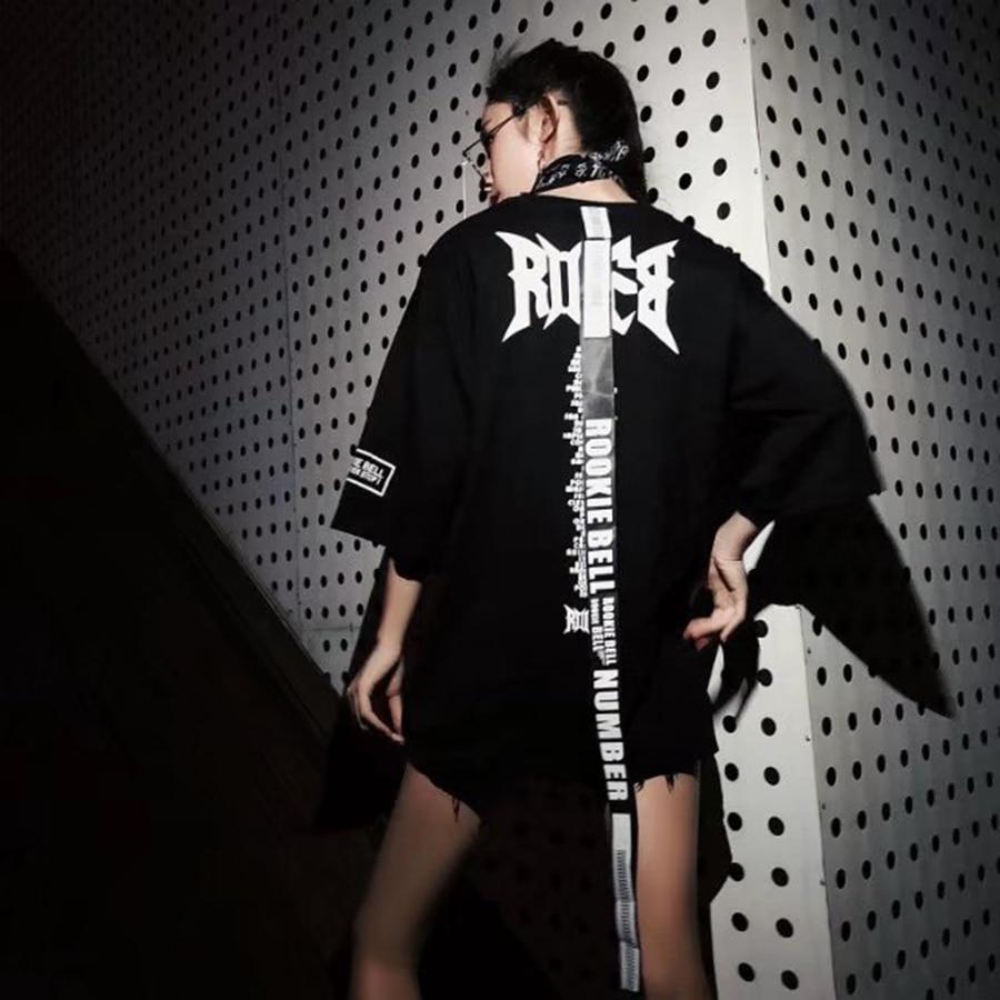 Été T Shirt femmes lâche Harajuku T-Shirt ruban Kawaii Style coréen Ulzzang Streetwear T-Shirt grande taille femmes vêtements 50G042