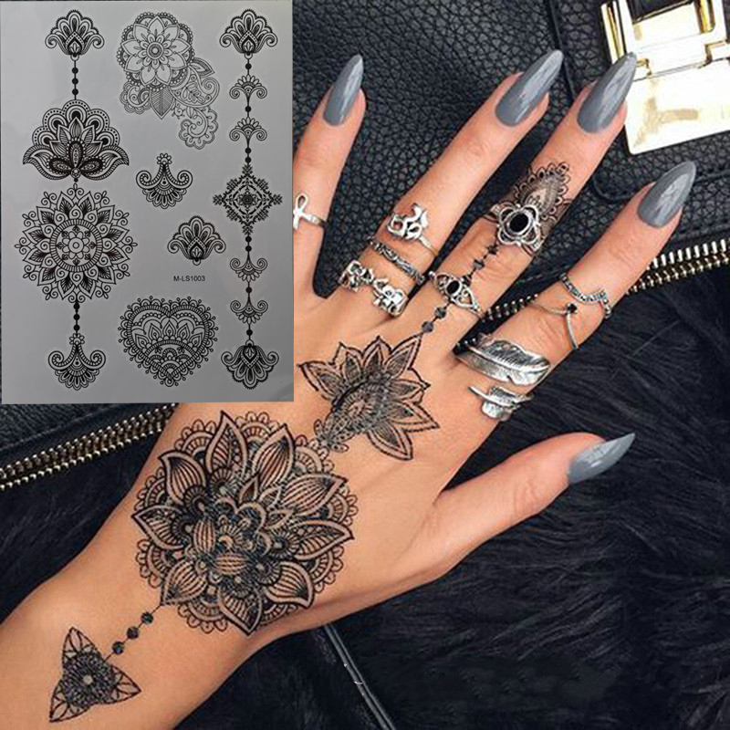 Black Henna Temporary Tattoo For Hands Inspired Body Stickers