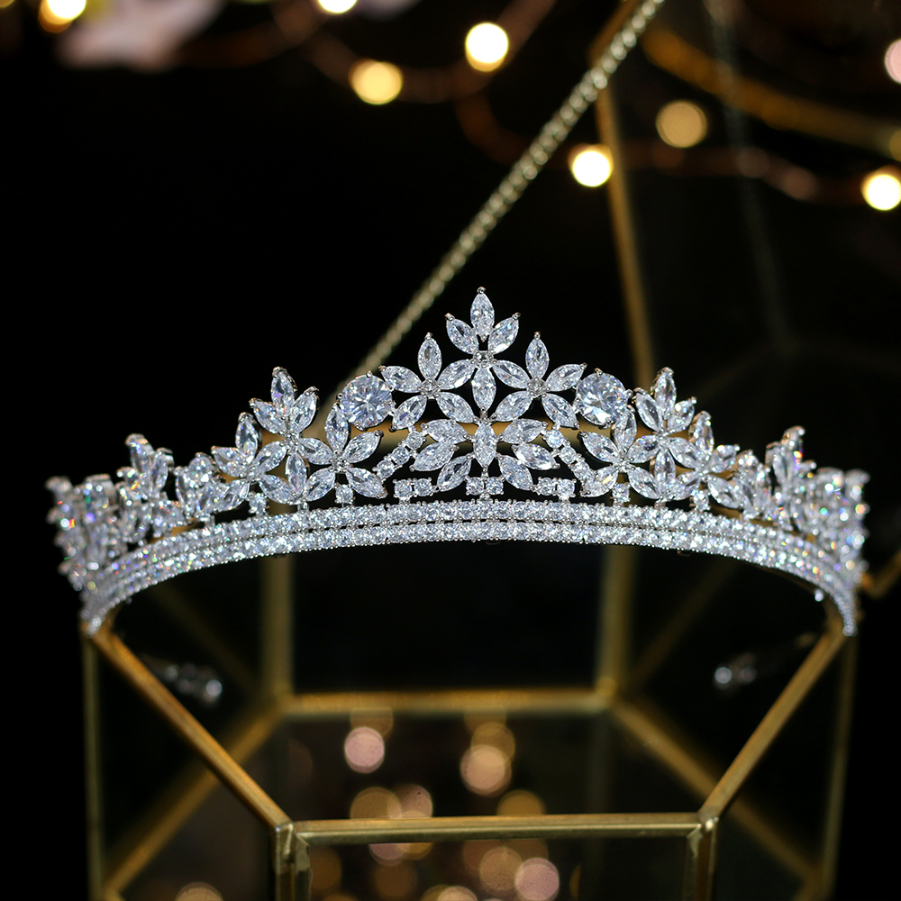 Wedding-Headband Zircon Crystal Bridal-Crown Silver Electroplating Jane Ling Party