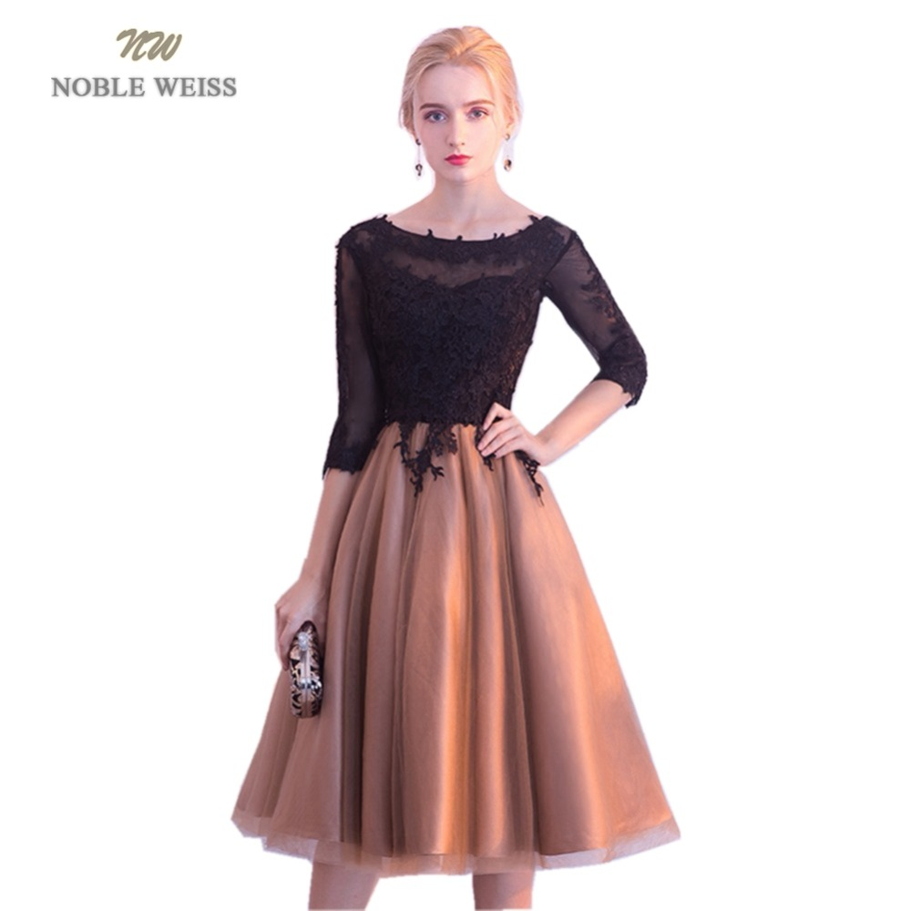 NOBLE WEISS Hot Sale Champagne Tulle Short Prom Dresses Appliques Robe De Soiree A-Line In Stock Prom Dress With 3/4 Sleeves