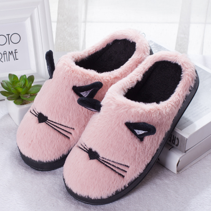 Cat Fluffy Couple Slippers With Ears Cute Women Slippers Soft Sole Home Indoor Slipper Fashion Flat