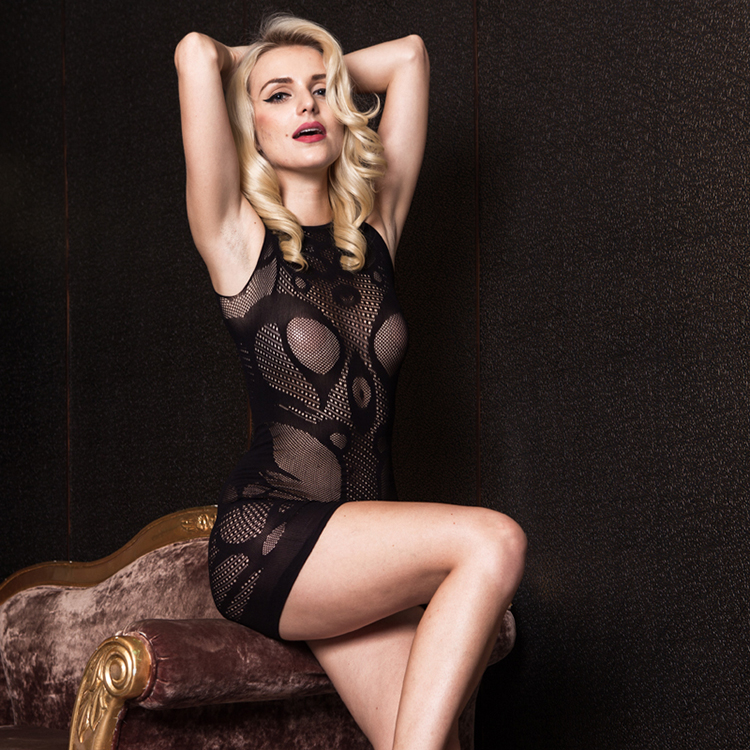 Sexy Lingerie Club With Gauze Bag Hip Skirt On Tight Low Cut Hollow Out Dress Erotic Gothic Fetish Underwear Adult Sex Dress