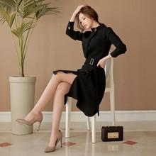 8342ec7e2782d6 OL Elegante Stand Kraag A-lijn Sexy Werk Jurken Vrouwen Uniform Sjerpen  Kantoor Dames Slanke Split Jurk Solid Vestidos Mujer