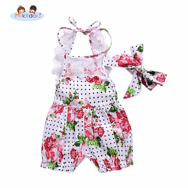 2018 Hot sale girls romper Floral Print Baby Girl Set Summer Infant Kids 2 pcs Clothes Flower Lace child Body Suit Toddler