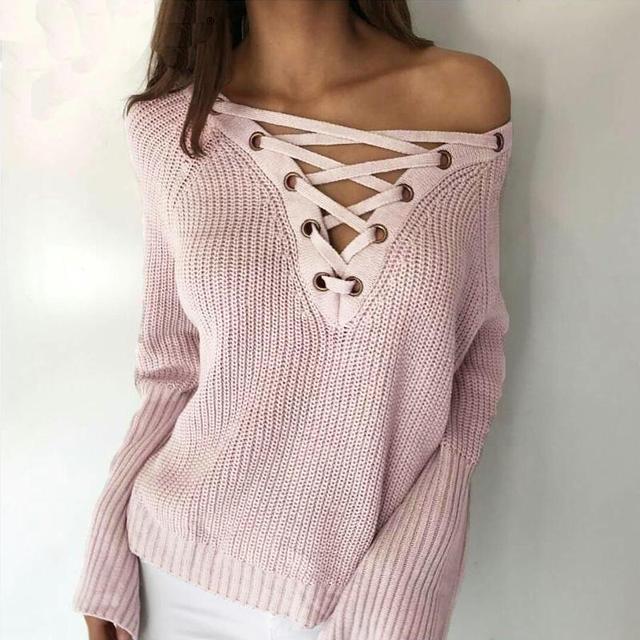 Outono inverno flare luva de malha camisola das mulheres lace up v neck pullover sexy divisão solto malhas camisola jumpers casuais