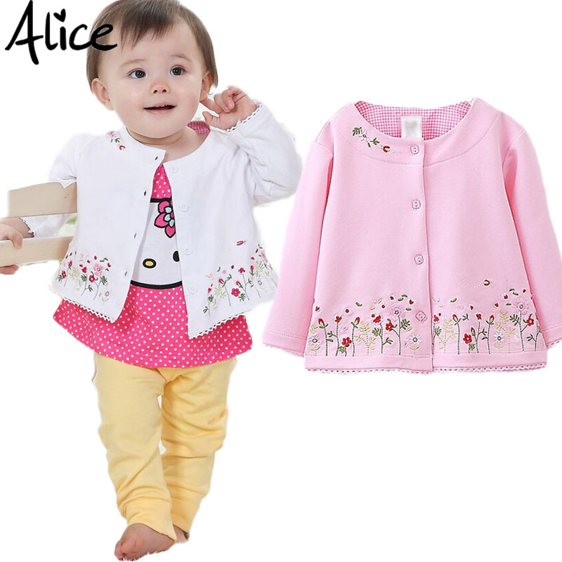Spring 2016 Children's Clothing female Baby Girls long-sleeved cardigan jacket coat embroidered pink flowers Kids clothes