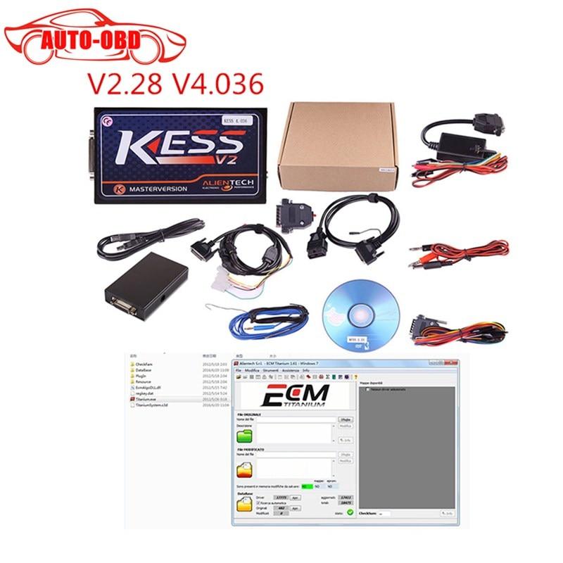 2017 Hot Sell KESS V2 V2.28 Newest OBD2 Manager Tuning Kit No Token Limit Kess V2 Master FW V4.036 Master Version with ECM free  цены