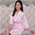 Пижама женская одеяние и ночной рубашке устанавливает пижамы искусственного шелка 2 шт. женский красный свадебные домашняя одежда сексуальный атлас невесты халат loungewear