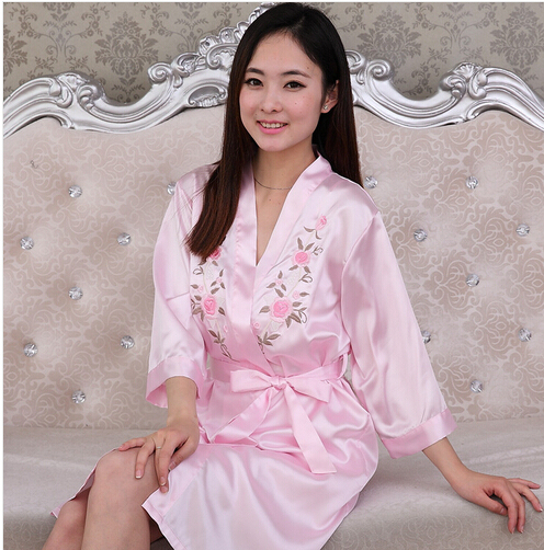 Pyjamas Women's Robe & nightgown sets sleepwear faux silk 2PCS female red wedding homewear sexy Satin bride bathrobe loungewear
