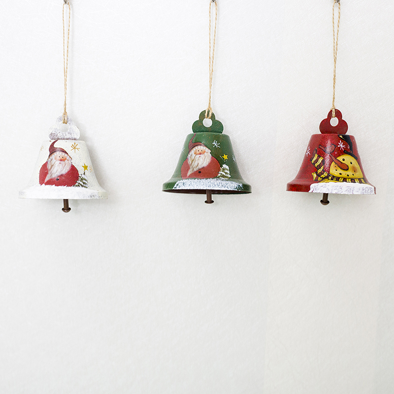 3 Styles Creative Painted Christmas Bells Wrought Iron ...