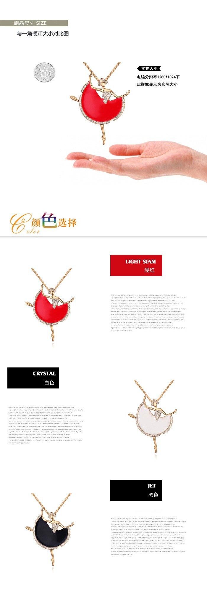 US $11.77 20% OFF|Nette Kristall Ballerina Abbildung Anhänger Halskette Gold Farbe Lange Kette Pullover Collier Frauen Kinder Kostüm Schmuck in