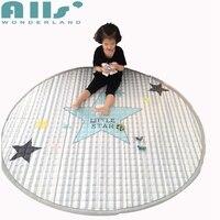 Серый в полоску большие звезды дизайн детской игровой коврик мягкий полиэстер для домашнего декора Ручная стирка круглый Форма ковер для г