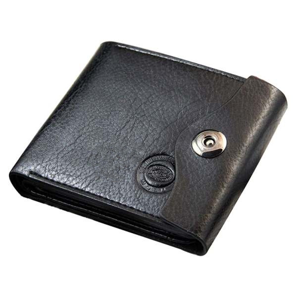 Mens Faux Leather Wallet with Credit Card Holder soft solid short wallet Purse (Black)