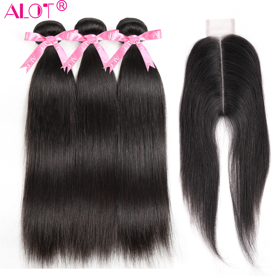 Alot Brazilian Straight Hair Weave 3 Bundles With 2x6 Lace Closure Middle Part Human Hair Bundles