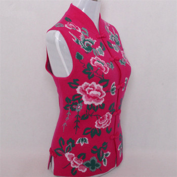 pure goat cashmere jacquard knit women fashion chinese style stand collar sleeveless vest sweater rose red 2color S/5XL