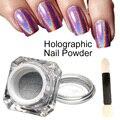 1 g/caja 3D Brillante Glitter Plata Holográfica Láser de Pigmentos En Polvo para Nail Art Polaco del Gel Arco Iris Cromo Brillo de Polvo