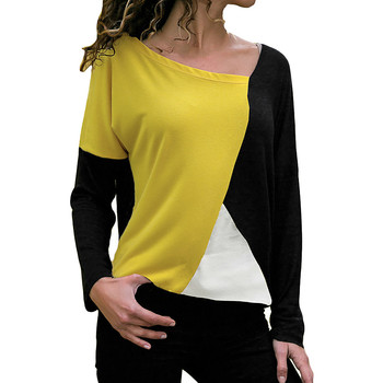 Elegante Fashion Women Girls Blouses Casual Patchwork Color Block O-Neck Long Sleeve Shirt Top womens costume
