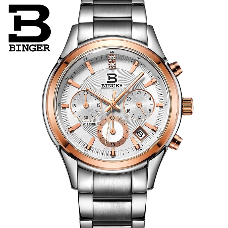 Натуральная Swizerland Бингер бренд Для мужчин кожаный ремень водонепроницаемые часы моды мужской Секундомер Календарь Часы Бесплатная достав...