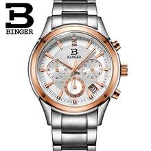 Натуральная Swizerland Бингер бренд Для мужчин кожаный ремень водонепроницаемые часы моды мужской Секундомер Календарь Часы Бесплатная доставка
