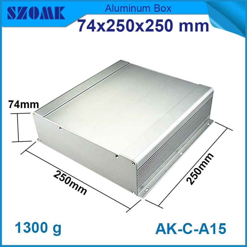 1 piece grey aluminum instrument case electrical diy junction housing 74*250*250mm 2.89*9.84*9.84inch
