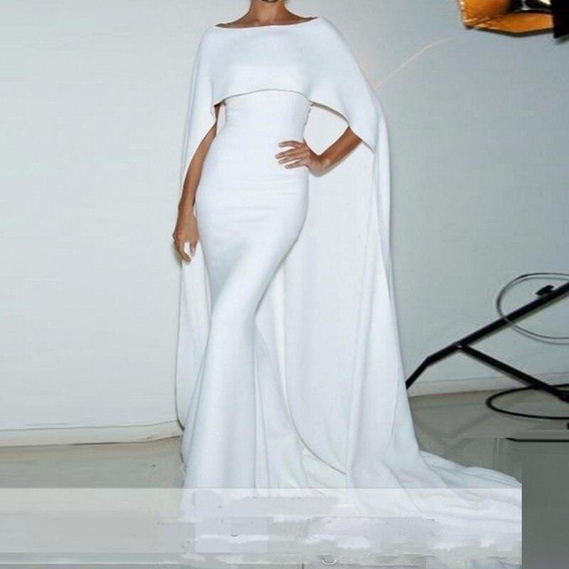vestido longo Mermaid   Evening   Gown robe de soiree Elegant Formal   Dresses   White Custom Made Long   Evening     Dress   Cape Sleeve Abiye