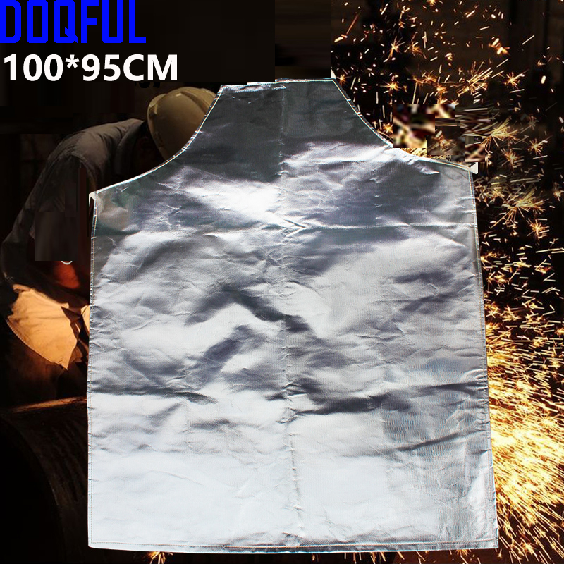 New 1000 Degree Heat Resistant Apron Aluminum Fabric Apron High Temperature Working Thermal Radiation Aluminized Aprons