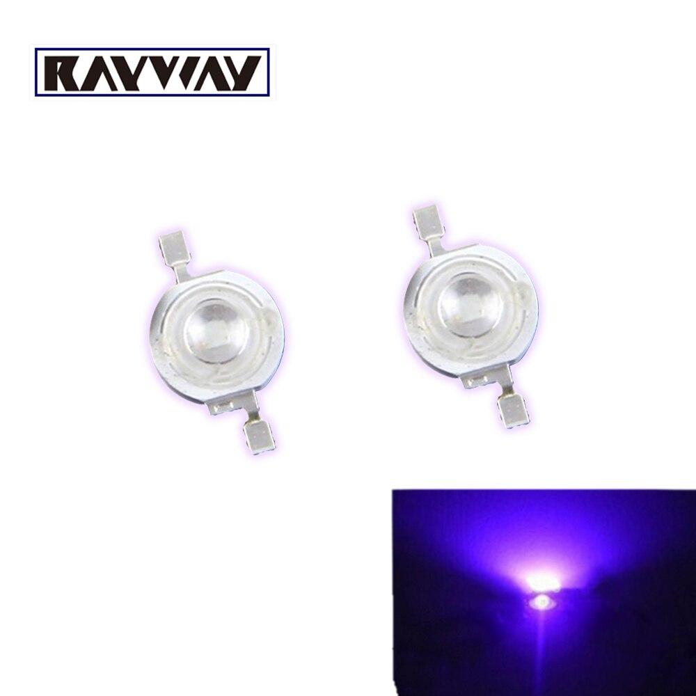 Light Beads Rayway 10pcs/lot 45mil Epistar 3w Uv Led Lamp Beads Purple High Power Led Light-emitting Diodes 395nm-405nm 140 Deg Light Source Fine Workmanship
