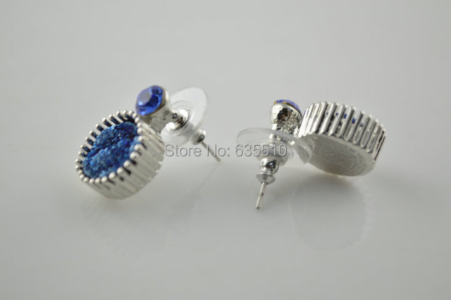 1 pair Blue Drusy Geode Agate Stone Beads Stud Earring Fashion Woman jewelry