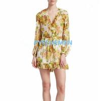 100% шелк Для женщин желтый и зеленый Цветочный принт с длинными рукавами рюшами V шеи короткий комбинезон и комбинезон с поясом