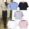 Envío de la alta calidad de Europa 2016 nueva barato arco ropa de color sólido pantalones cortos de algodón sexy cuello redondo T-shirt lo shi