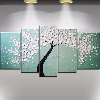 Hand Painted Modern White Gustav Klimt Tree Of Life Abstract Oil Painting On Canvas Picture 5 Panel Wall Art Home Decoration