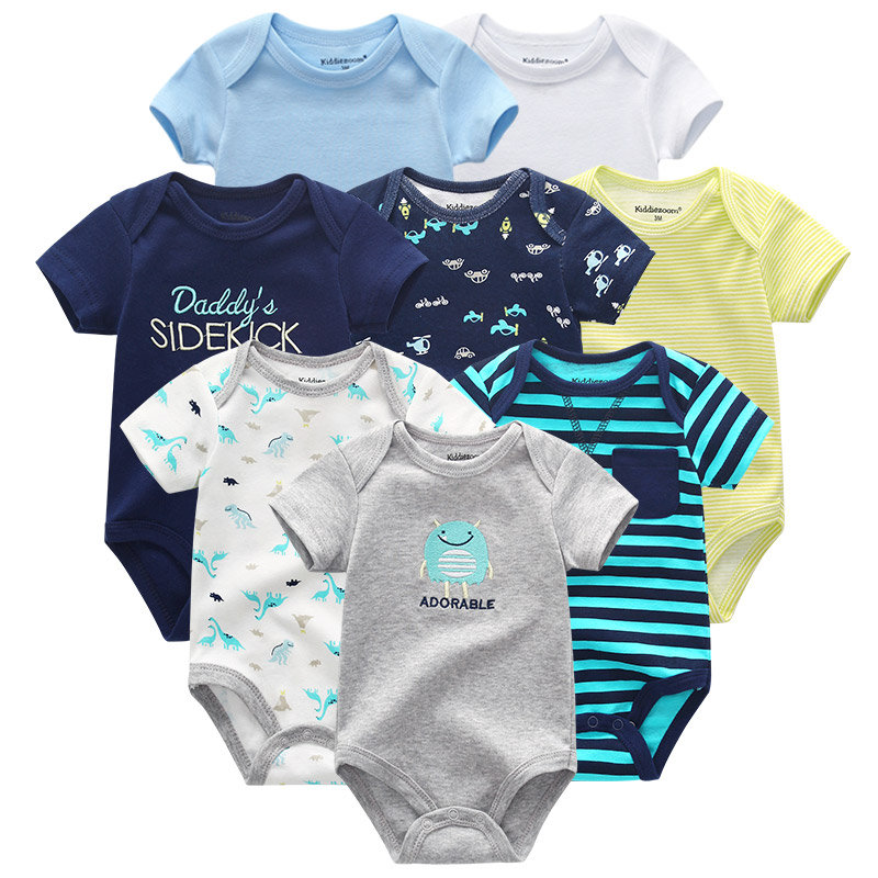 2019 Newest 8PCS Baby Rompers Newborn 100%Cotton Girl Boy Baby Clothes Solid Short Sleeve Print Roupas De Bebe Infantil Costumes