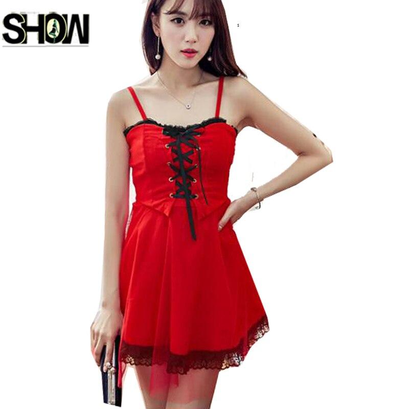 Cute Mini Dresses Princess Lace Fashion Women Korean Style