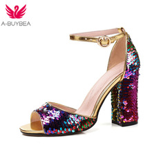2019 New Summer Fashion High Platform Bling Sandals Women Crystal Casual Ladies Shoes 9cm High Heels Plus Size 43 Ankle Strap цены онлайн