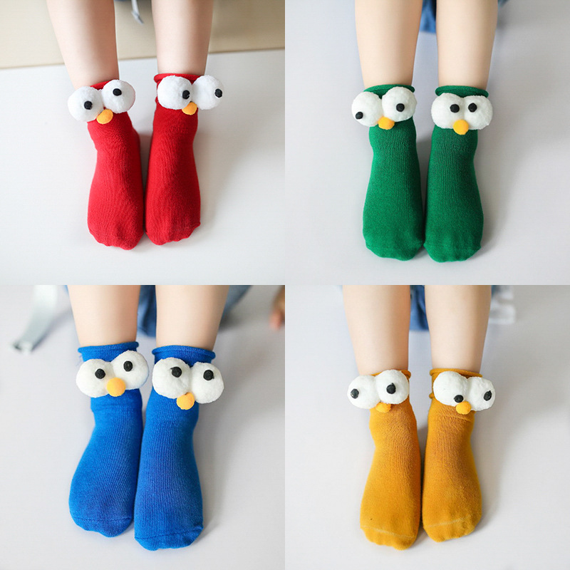 Winter Baby Socks 3D Cartoon Big Eyes Coral Velvet Toddler Kids Girls Boys Socks Happy Pure Color sokken