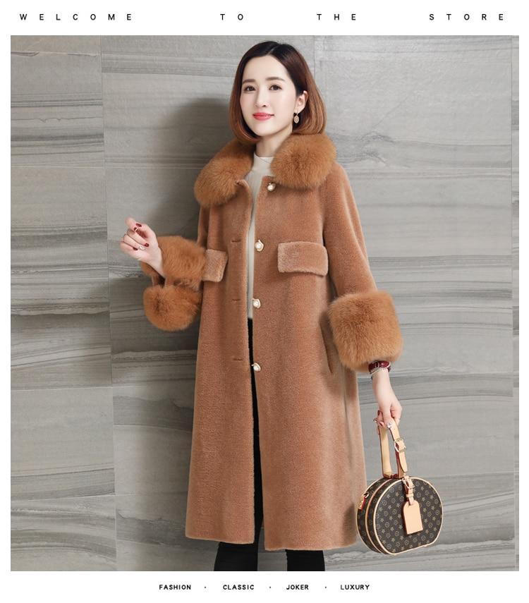women natural sheep fur coat with real fox fur collar (1)