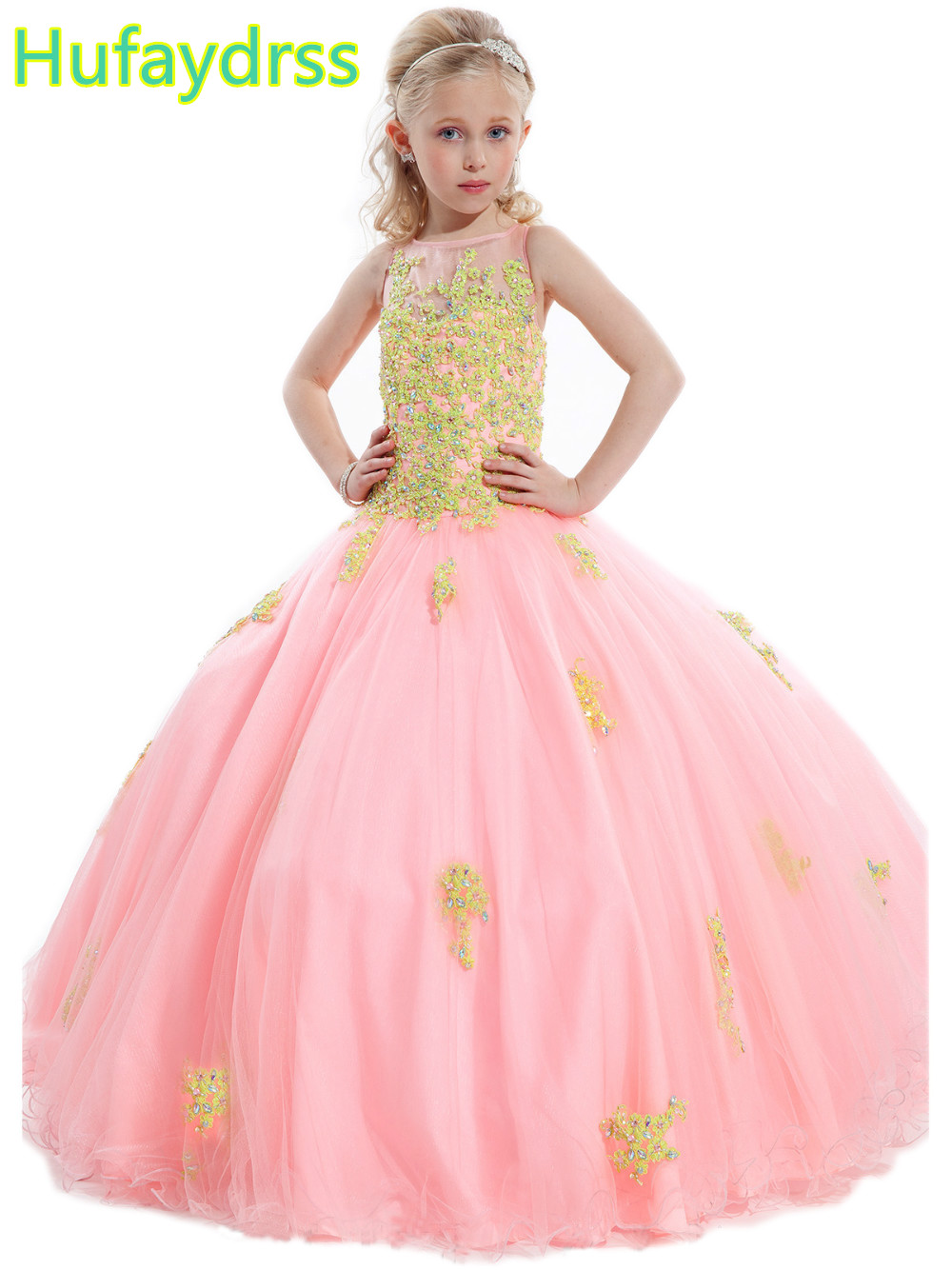 2018 Little Girls Pageant Dress Ball Gown Beads Lace Applique Floor Length Flowe