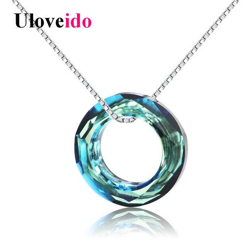Uloveido 40% Off Mignon Colliers et Pendentifs Colar Collier Femmes Suspension Argent 925 Bijoux Collier Bleu Zircon avec la Boîte WT150