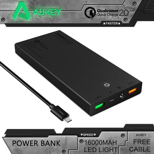 Aukey Портативный Быстрая Зарядка 2.0 16000 мАч Power Bank Мини Внешняя Батарея 5 В 9 В 12 В Dual Usb Поддержка мобильных Быстрое Зарядное Устройство