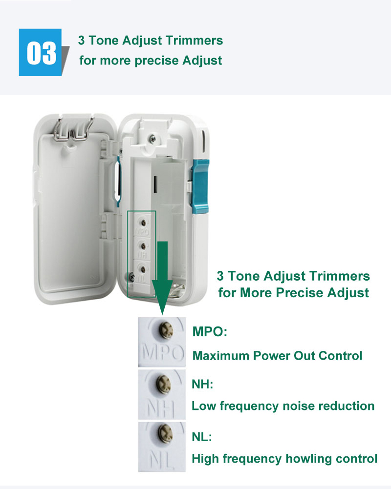 3 trimmers pocket hearing aid