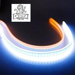 Image 1 - 2Pcs 60cm אוטומטי מנורות עבור רכב DRL LED בשעות היום ריצת אורות מכוניות סטיילינג איתות מדריך רצועת אבזרים פנס הרכבה