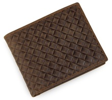 Genuine Crazy Horse Leather Woven Pattern Mens Pocket Coin Wallet 8098C