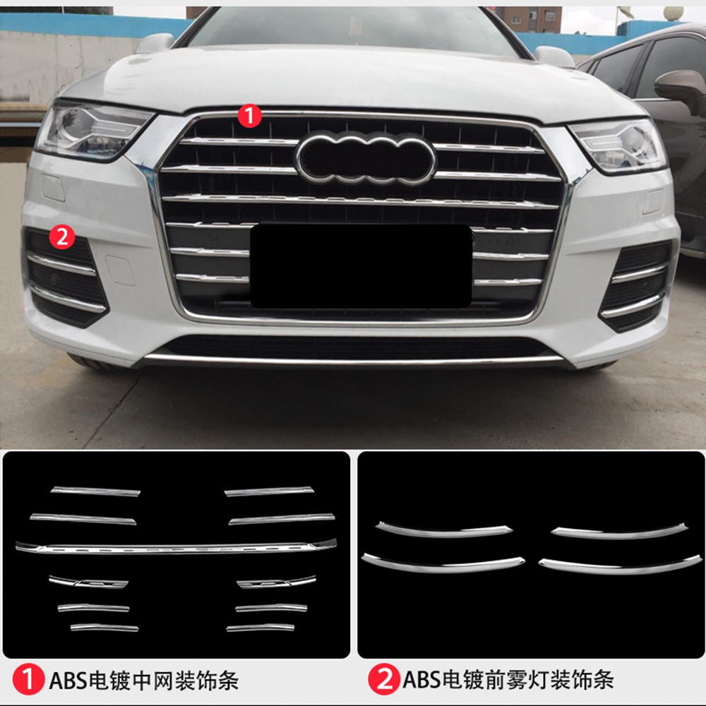 MONTFORD For Audi Q3 2016 2017 ABS Chrome Exterior Front Middle Grill Trim Strips Grille Streamer Sticker Car Accessories 15PcsMONTFORD For Audi Q3 2016 2017 ABS Chrome Exterior Front Middle Grill Trim Strips Grille Streamer Sticker Car Accessories 15Pcs