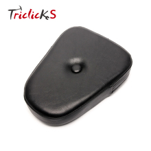 Triclicks Black Universal Motorcycle Backrest Sissy Bar Back Rest Cushion Pad Rivet Seat Cover Pads Rear Padding