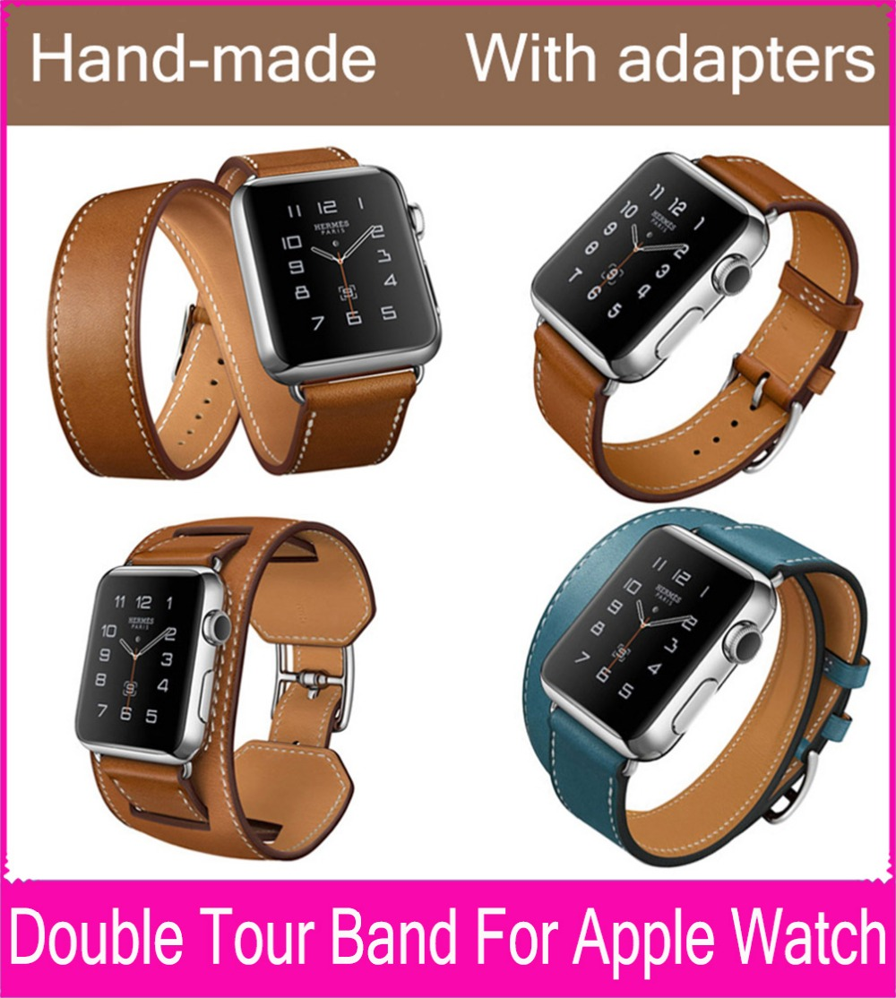 The Extra Long Double Tour Genuine Leather Strap For Apple Watch With Series 3 2 1 38mm 42mm Are Available new style double buckle cuff genuine leather strap for apple watch 38mm 42mm with 1 1 original metal adapters fit series 1 and 2